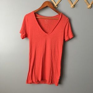 J. Crew 100% Cotton Painter Tee Red V-neck Top
